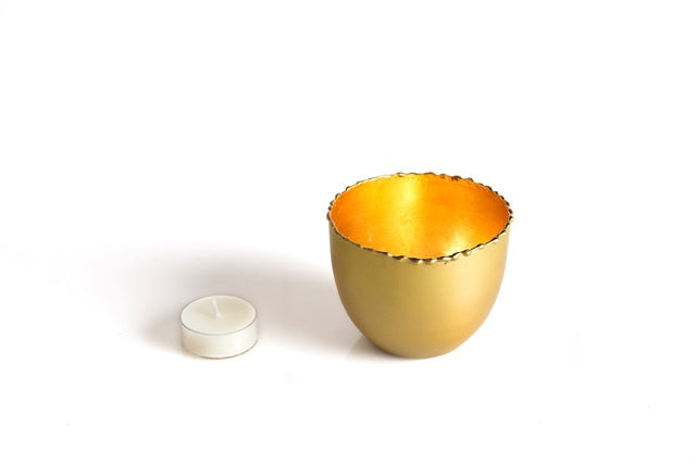 Metal Tealight Holder with golden inside - The Fragrance People