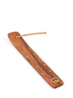 Wooden Brass Incense Holder Peach - The Fragrance People