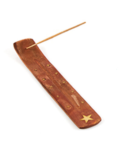 Wooden Brass Incense Holder  Star - The Fragrance People