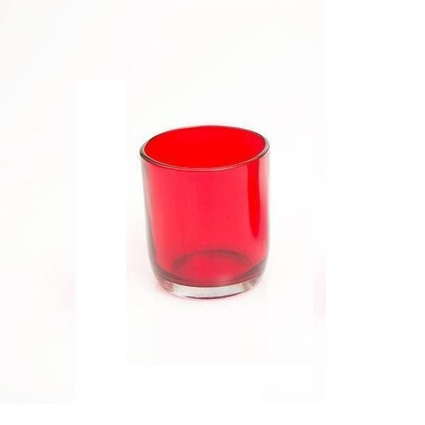 Red Glass Tea Light Holder. - The Fragrance People