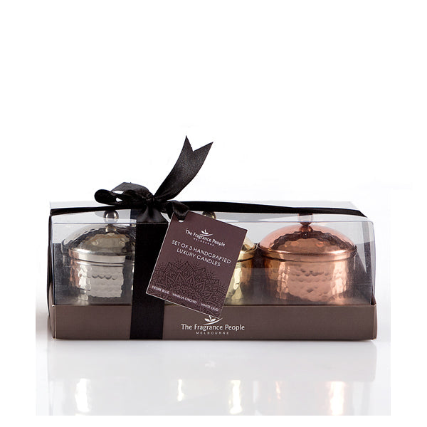 Hand Beaten Candle - Set of 3 (Gift Pack) - The Fragrance People