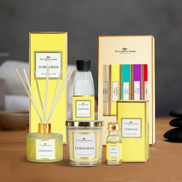 Get 5 Products in 1 Combo ( Reed Diffuser Set Lemongrass + Luxury Scented Candle Lemon Grass + Diffuser Refill Lemongrass + Lemon Grass Fragrance Oil + Incense Sticks Pack - Set Of 5 )