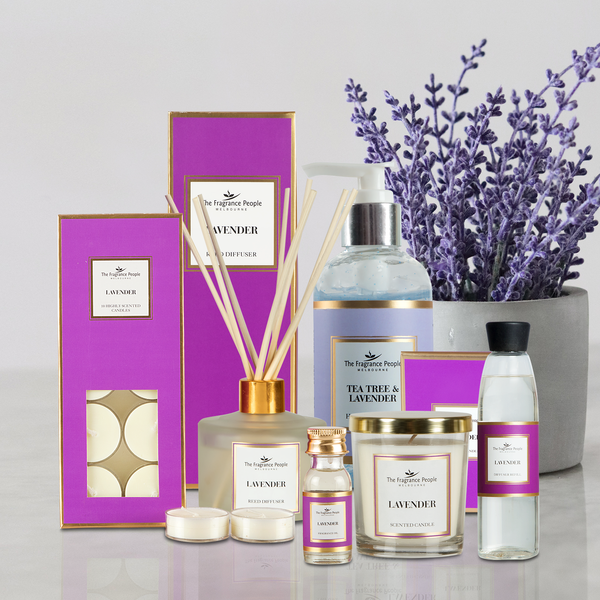 Reed Diffuser Set Lavender + Luxury Scented Candle Lavender +  Essential Oil Hand Sanitiser with Vitamin E Beads -Tea Tree & Lavender Essential Oil + Fragrance oil 20 ml Lavender + 10*Tealights Lavender + Diffuser Refill Lavender