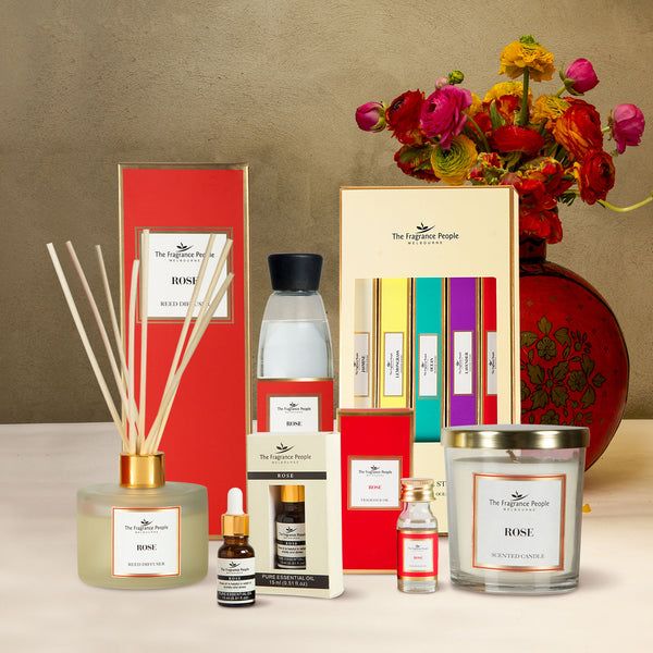 Get 6 Products in 1 Combo ( Reed Diffuser Set Rose + Luxury Scented Candle Rose + Diffuser Refill Rose + Rose Fragrance Oil + Incense Sticks Pack - Set Of 5 + Rose Pure Essential Oil )