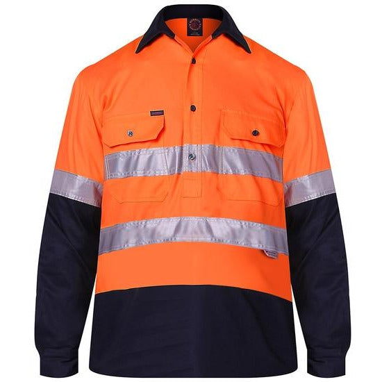 Cotton Closed Front Long Sleeved Work Shirt with 3M tape