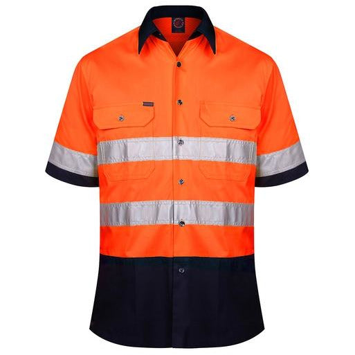 Cotton Open Front Short Sleeved Work Shirt with 3M Tape
