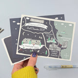 Winter Illustrated Bespoke Map Invitation