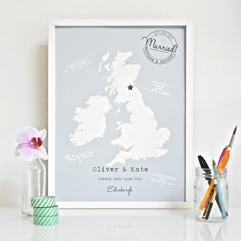 'Map' Guest Book Poster
