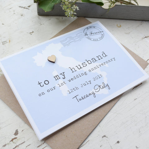 Personalised Wedding Anniversary 'To My Husband' Card