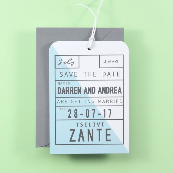 Geometric Luggage Tag Save the Date