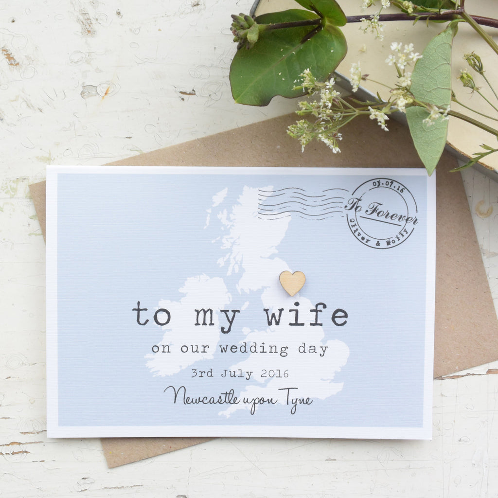personalised to my wife on our wedding day card paper and inc