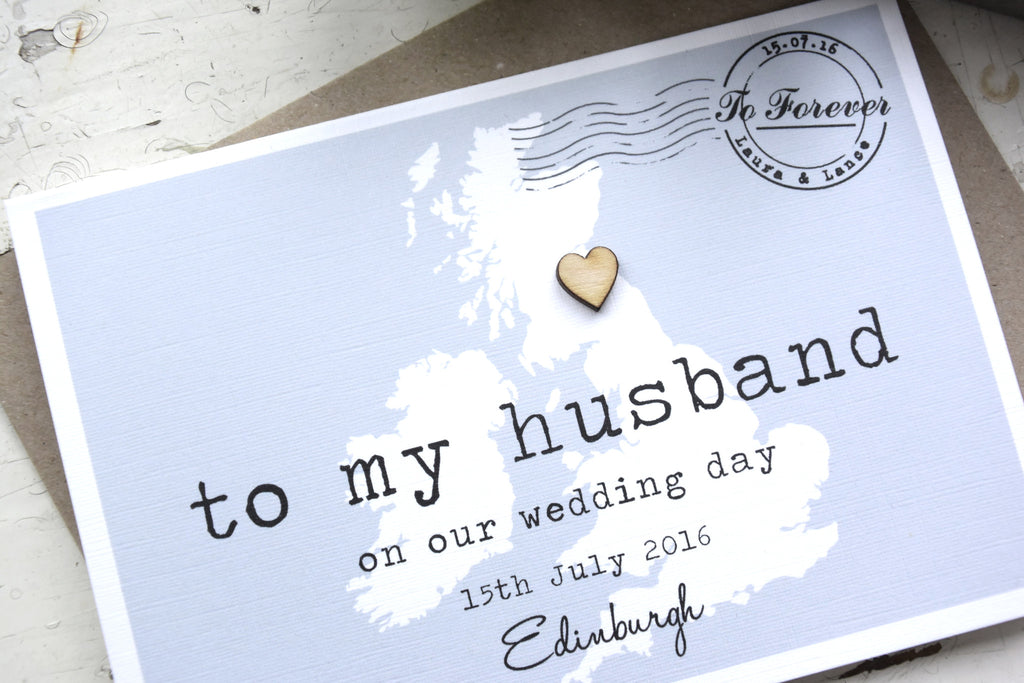 Gift For My Husband On Our Wedding Day: Personalised 'To My Husband' On Our Wedding Day Card