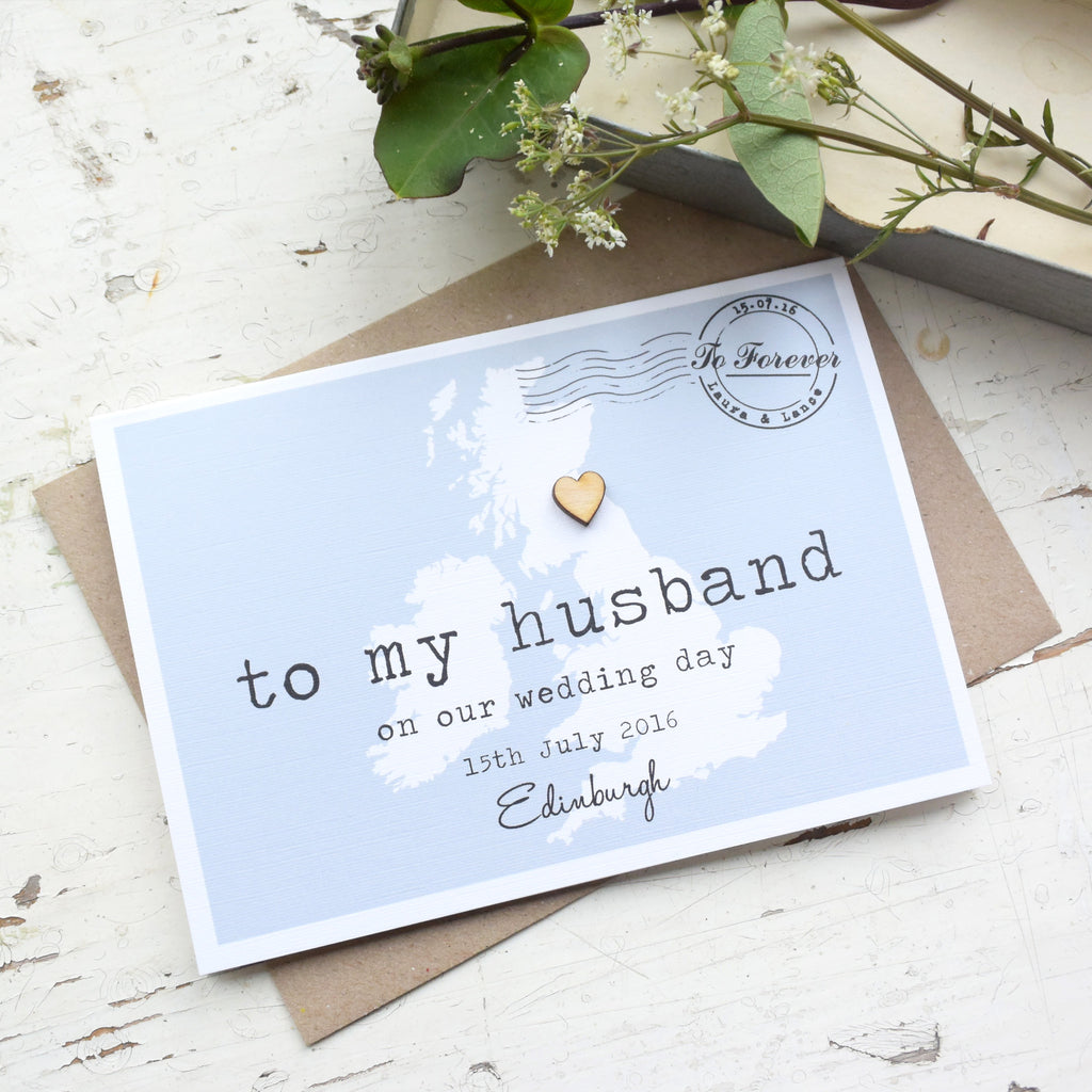 personalised to my husband on our wedding day card paper and inc