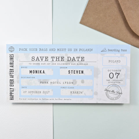 Vintage Style Location Boarding Pass Save the Date