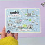 Floral Illustrated Bespoke Map Invitation