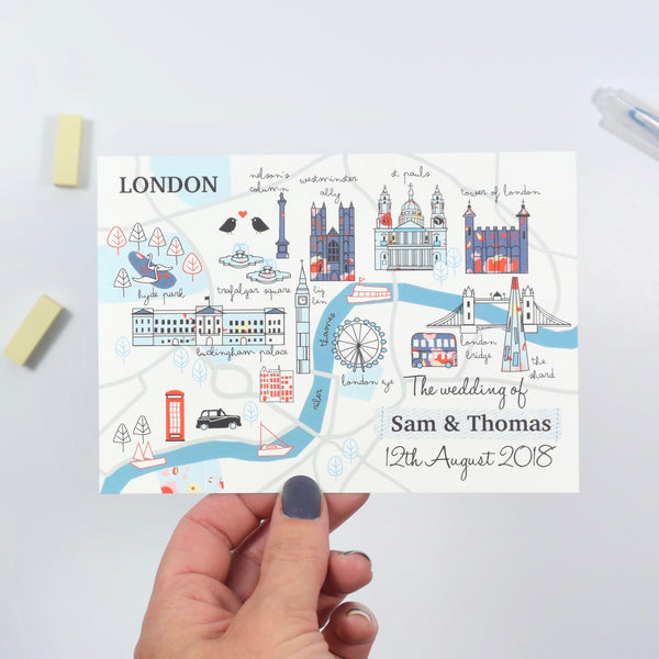 London Map Wedding Invitation