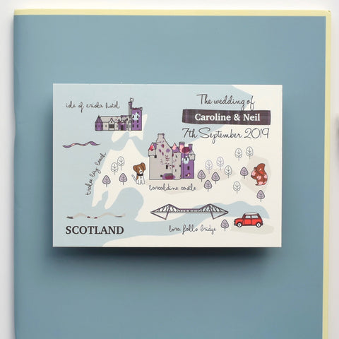 Scotland themed bespoke map invitation