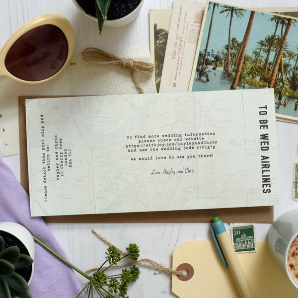 VINTAGE MAP STYLE BOARDING PASS