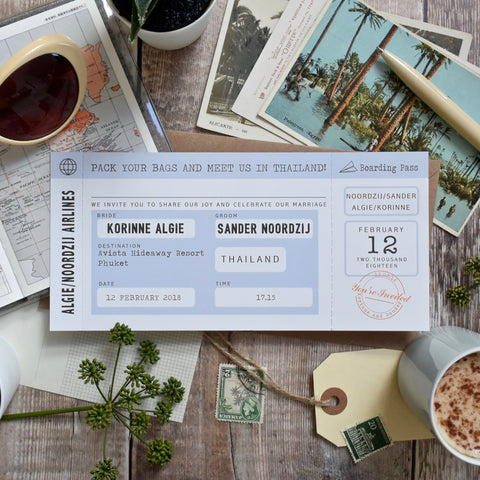 Boarding Pass Wedding Invitation Retro Style
