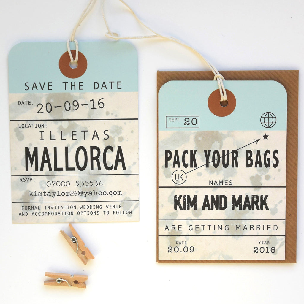 VINTAGE STYLE LUGGAGE TAG SAVE THE DATE Paper And Inc - Luggage tag save the date template