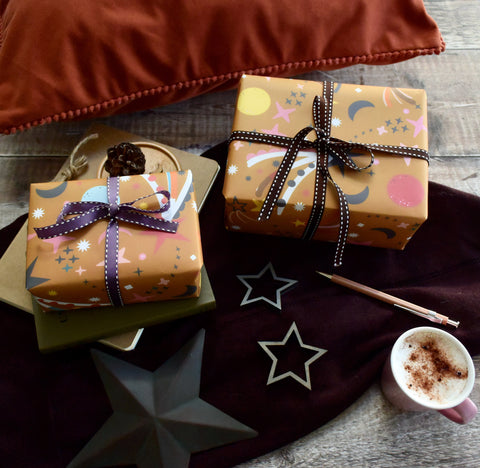 Magical Zooming Stars Wrapping Paper - Mustard