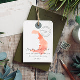 Hayley- Watercolour Style Map Luggage tag