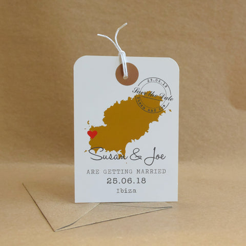 Gold Coloured Map Luggage Tag Save the Date