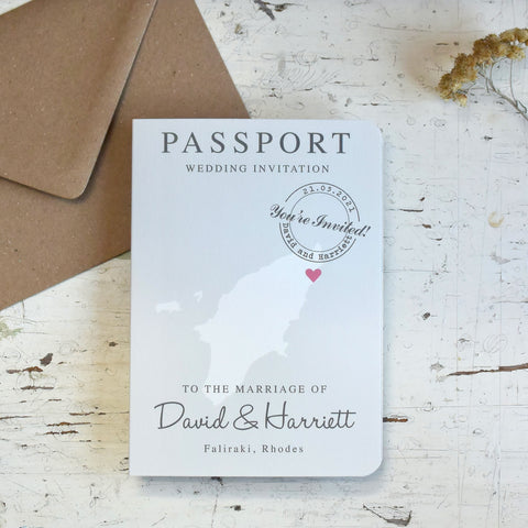 Map Passport Wedding Invitation