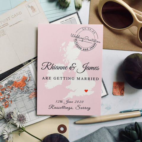 'Rhianne' Map Wedding Invitation