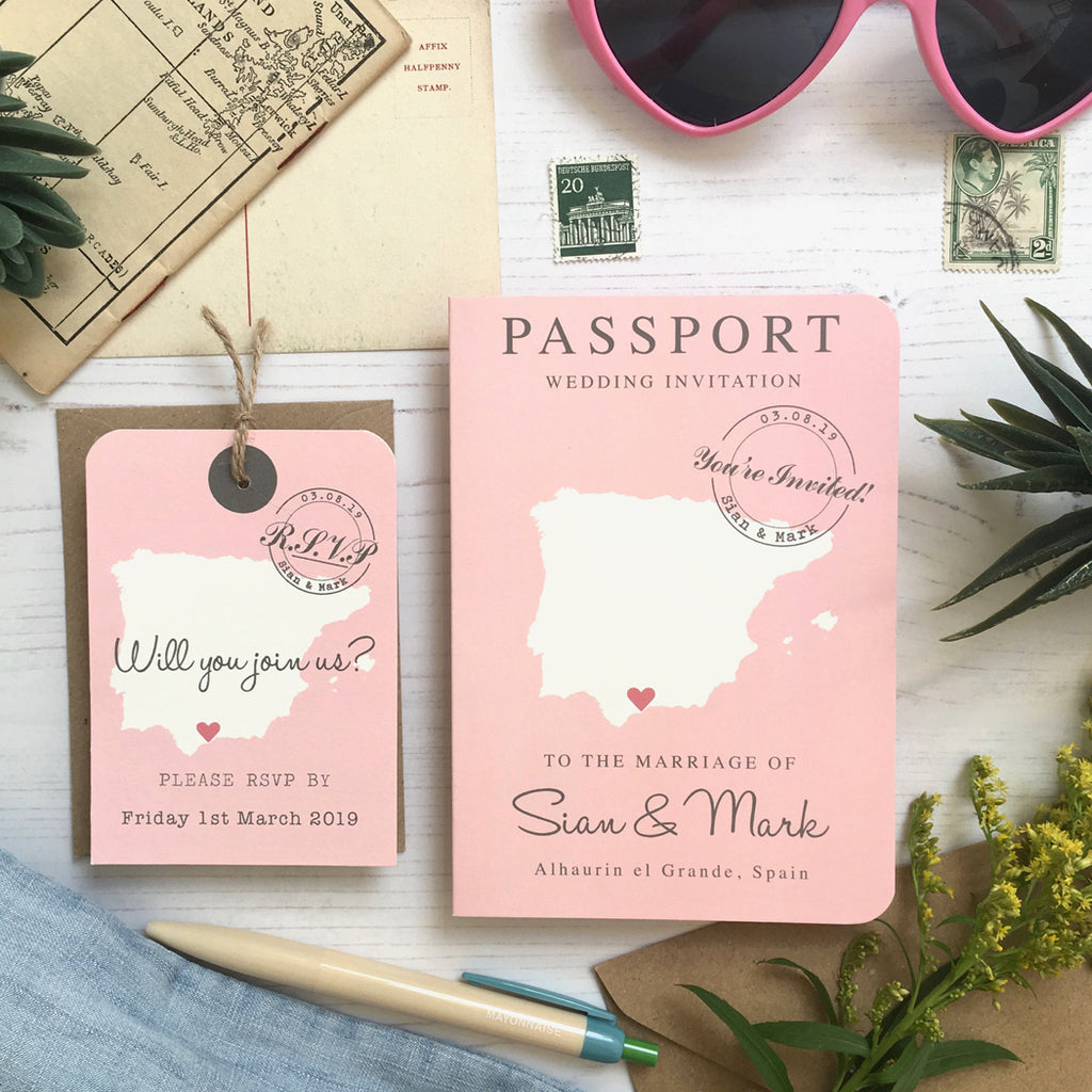 Travel Themed Passport Style Map Wedding Invitation Paper And Inc