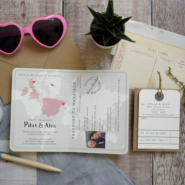 World Map Passport Invitation