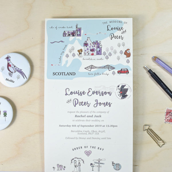 BESPOKE ILLUSTRATED FOLDED WEDDING INVITATION WITH TIMELINE