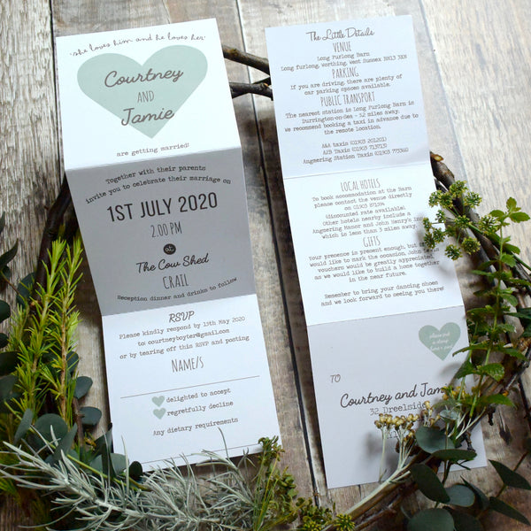 Heart Tri-Fold Wedding Invitation Printed on White Recycled Card