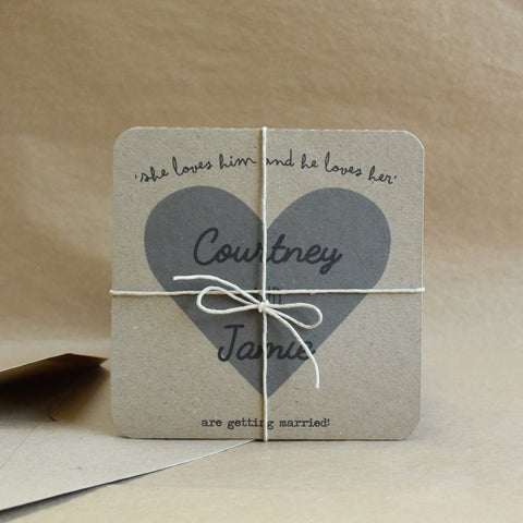 Heart Tri-Fold Wedding Invitation Printed on Brown Recycled Card