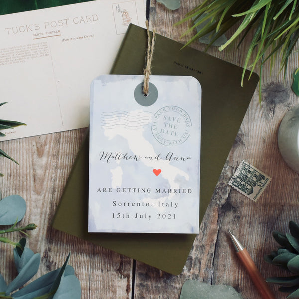 Watercolour Style Map Luggage tag