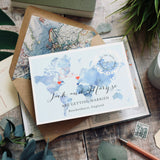 'Megan'- Watercolour map  style save the date