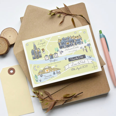 Spring/Summer Save the Date Illustrated Bespoke Map