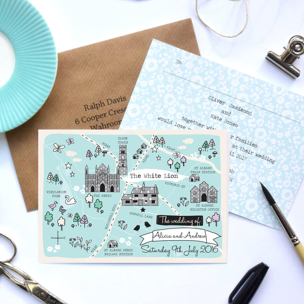 Spring/Summer Illustrated Bespoke Map Invitation