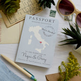 Travel Themed Passport Style Map Wedding Invitation