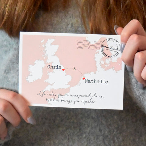 TRAVEL INSPIRED EUROPE MAP WEDDING INVITATION