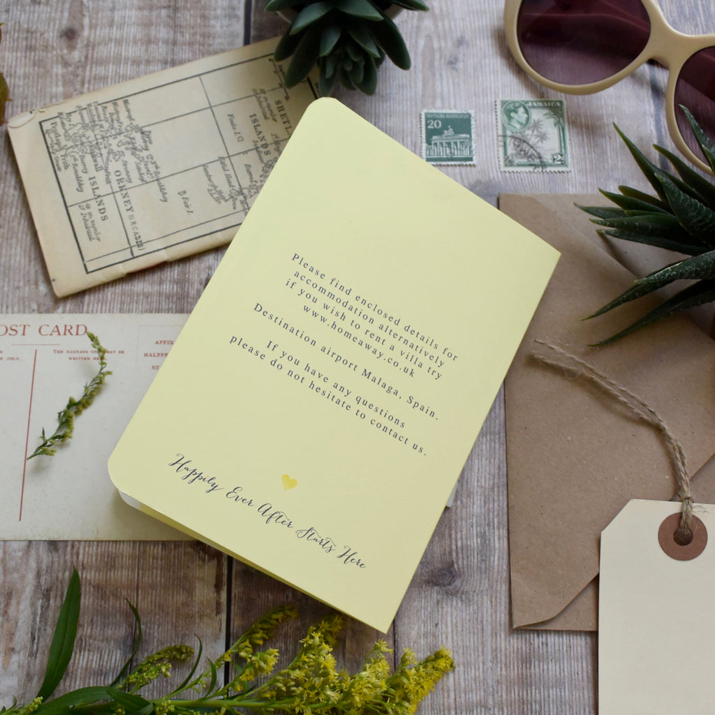 Passport Wedding Invitation Watercolour Style Paper And Inc