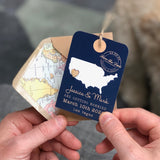 Bespoke Map Luggage Tag with wooden heart