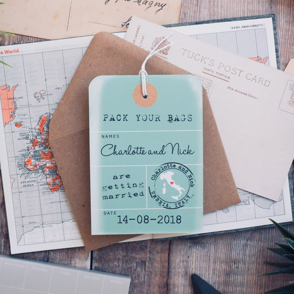Vintage Style Luggage Tag Save the Date