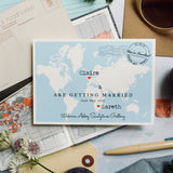 TRAVEL INSPIRED WORLD MAP WEDDING INVITATION