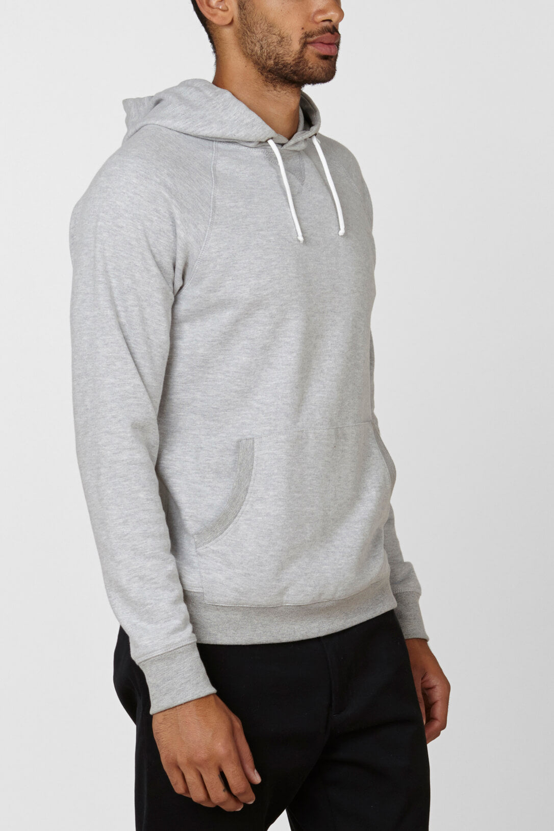 Product Shot of the The Hoodie in Heather Grey