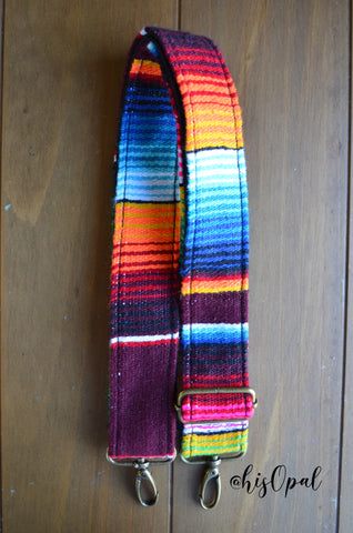 "MADE TO ORDER Hand Made Purse Strap, ""Mexico"" Black Back, Adjustable Strap, 24 to 41 inches"