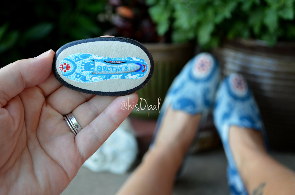 Hand Painted Rock, Brand Name Shoes, Moroccan Teal, Loafers, Keepsake Stone, Painted Shoes