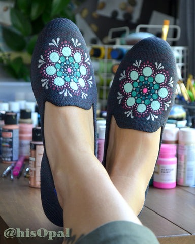 Hand Painted Mandala Shoes, Painted Shoes, Slip On Loafers, Fits Size 7.5-8, Name Brand (canvas section)
