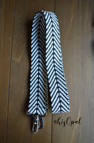 Hand Made Purse Strap, Black and White, Over the Shoulder Strap, 29 inches