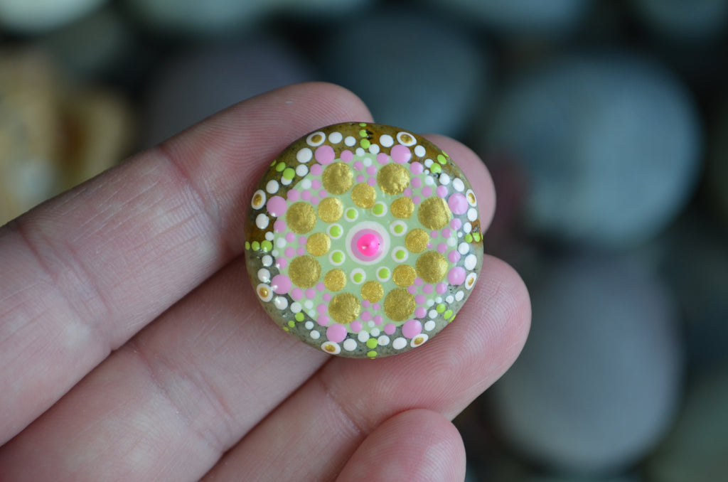 Fridge Magnet, Painted Rock Magnet, Mini Mandala Magnet, Kitchen Decor, Pink Gold